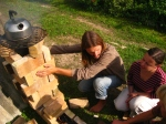 •The practical part of permaculture workshop 2011. Building a model of rocket stove.